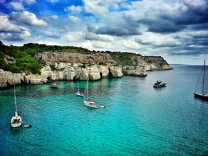 View of Cala Macarella, one of Menorca's many isolated beaches.